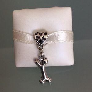 Charm dog bone and heart silver works w/ pandora